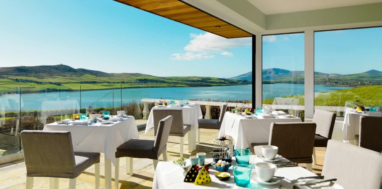 Eating breakfast on Terrace at Pax Guest House Dingle